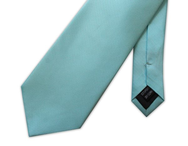 DUCK EGG BLUE MICRO GRID TIE-0