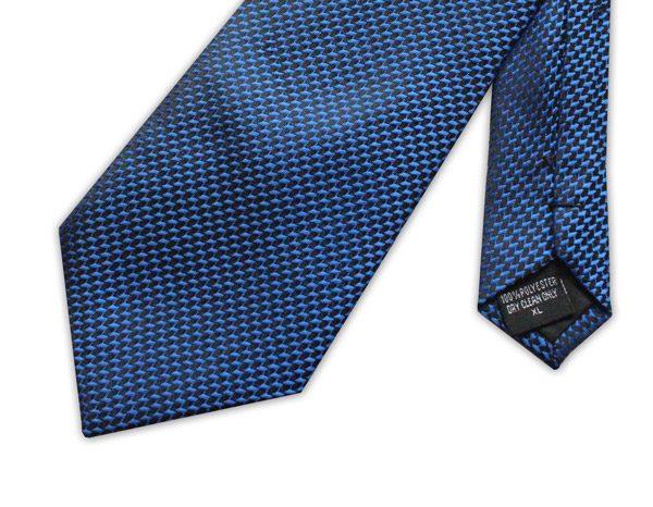 Blue/black geometric clip-on tie -0