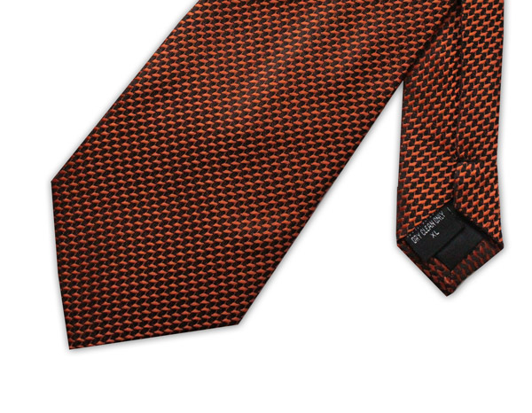 orange/black geometric clip-on tie