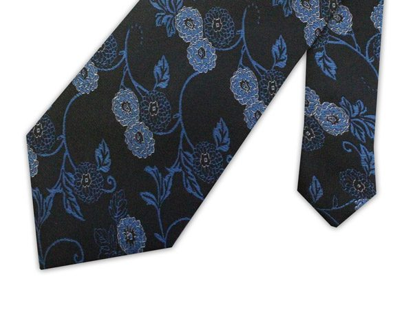 blue oriental flower clip-on tie -0