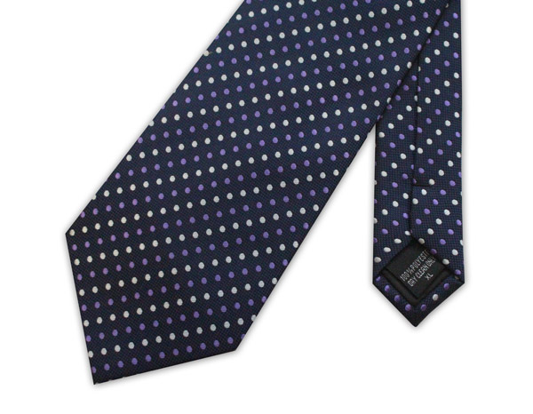 Navy/white/purple spots clip-on tie