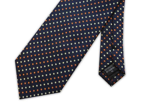 Navy/orange/white spots clip-on tie