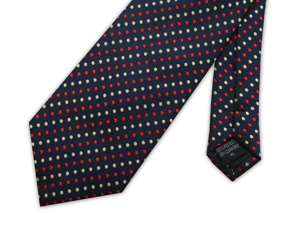 Navy/red/yellow spots clip-on tie