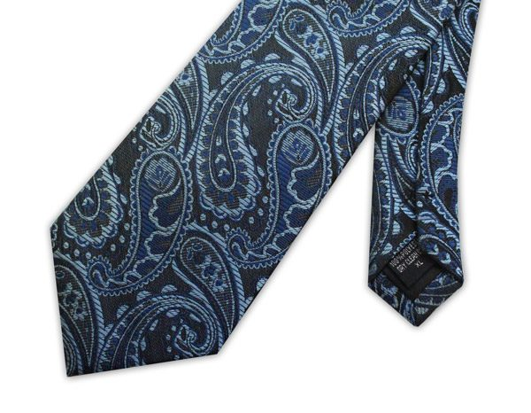 Blue/navy Paisley Clip-on Tie-0