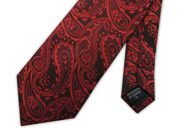 Red paisley clip-on tie -0