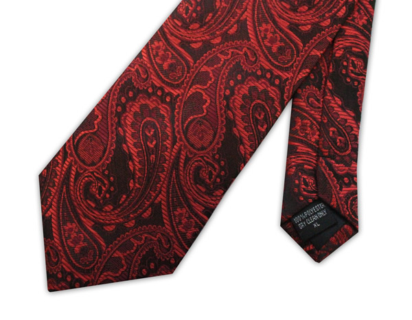 Red paisley clip-on tie