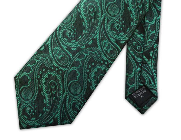 Green paisley clip-on tie -0