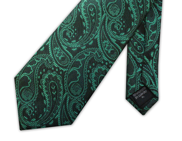 Green paisley clip-on tie