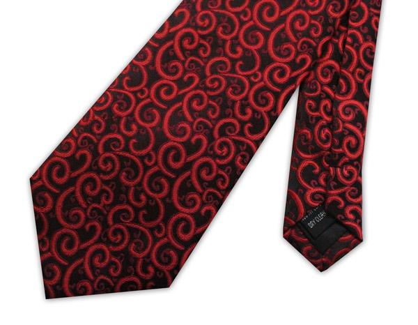Red/black swirls clip-on tie