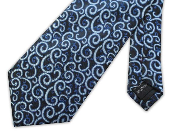 Blue swirls clip-on tie -0