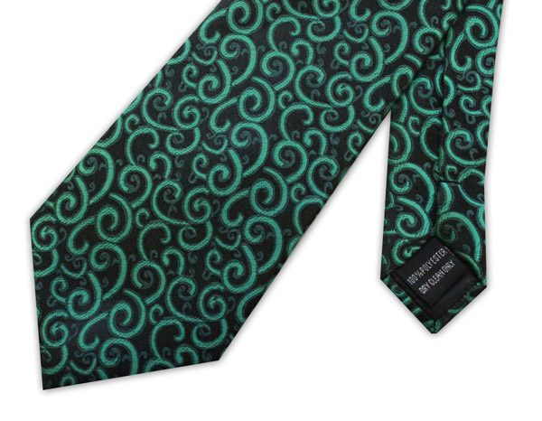 Green swirls clip-on tie -0