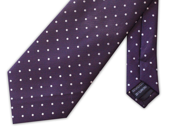 Purple/white polka dots clip-on tie