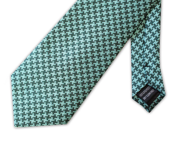 Green large houndstooth clip-on tie