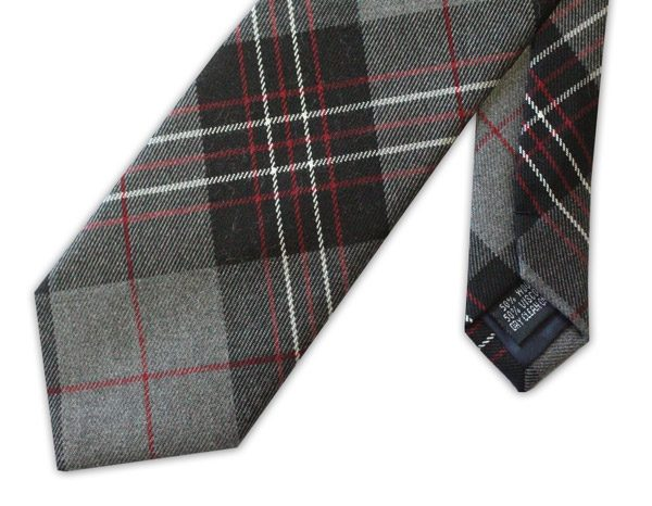 Grey tartan clip-on tie -0