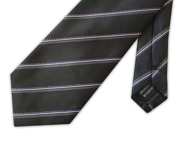 Black/grey/lilac Striped clip-on tie -0