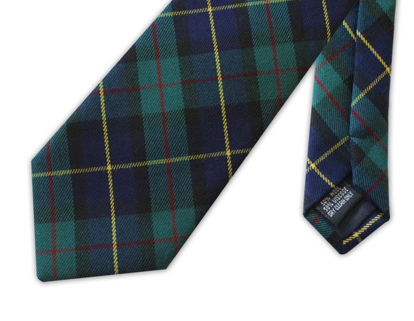 Green tartan clip-on tie
