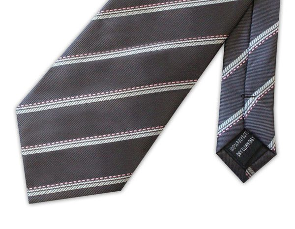 Grey/white/pink striped clip-on tie-0