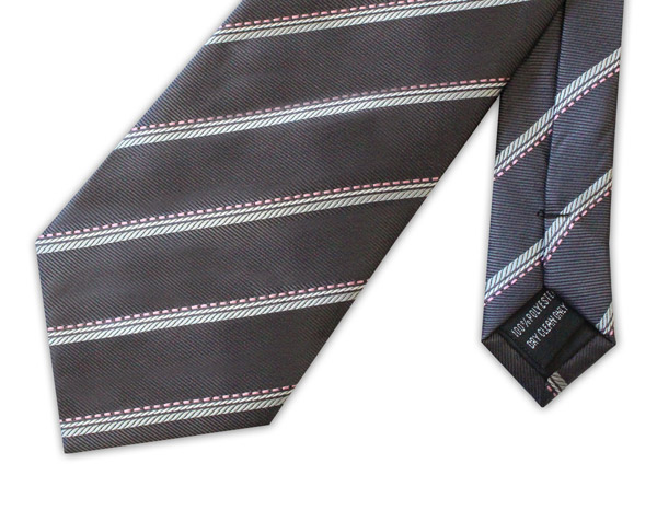 Grey/white/pink striped clip-on tie
