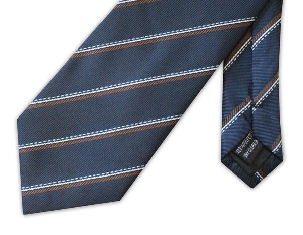 Navy/Brown/Blue striped clip-on tie-0