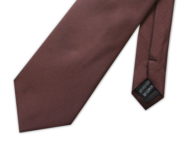BROWN  MICRO GRID WOVEN POLY TIE