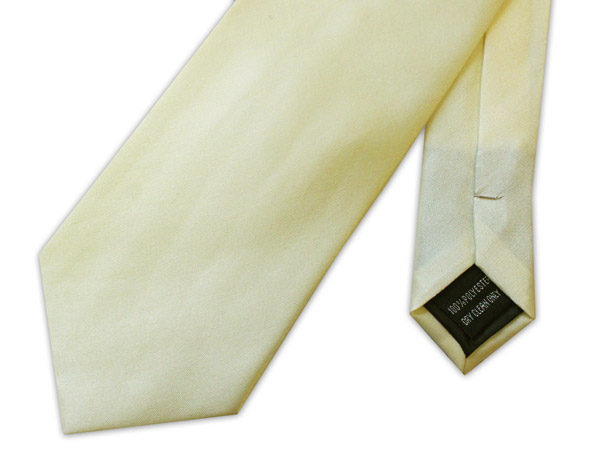 PLAIN CREAM POLY SATIN TIE-0