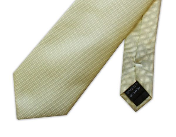 CREAM PLAIN MICRO GRID TIE-0