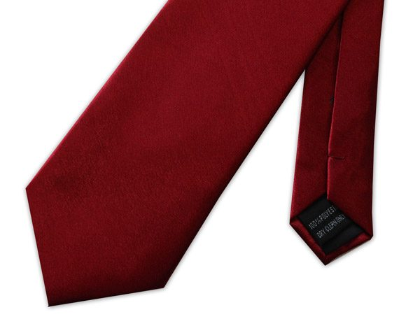 WINE RED POLY-SATIN TIE-0