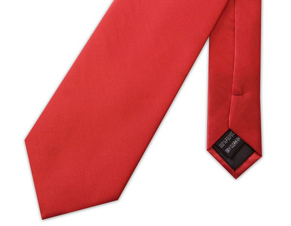 BRIGHT RED POLY-SATIN TIE-0