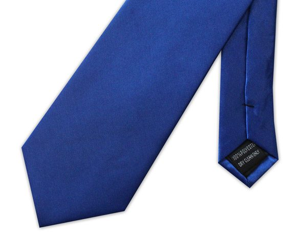 ROYAL BLUE POLY-SATIN TIE-0