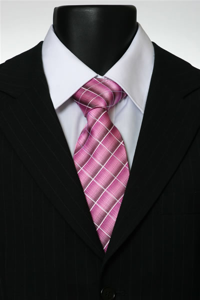 PINK/WHITE CHECK TIE-0