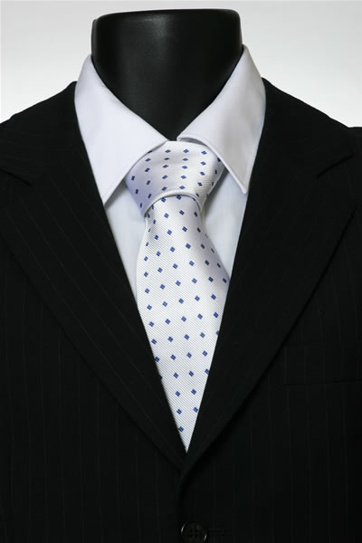 WHITE/BLUE DIAMOND TIE-0