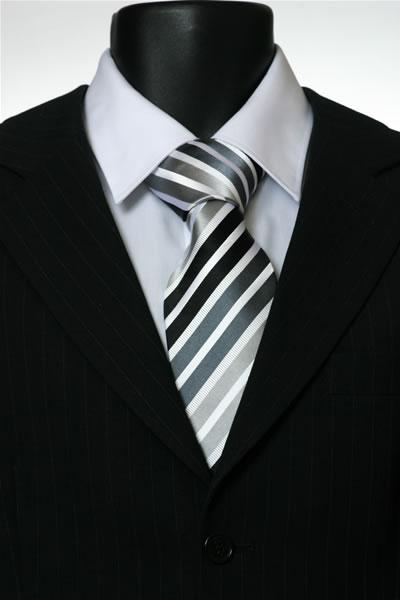 BLACK/WHITE/GREY STRIPE TIE-0