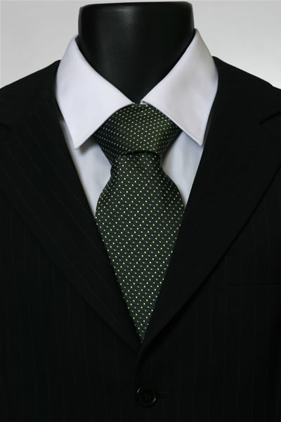 DARK GREEN/WHITE PIN DOT TIE-0