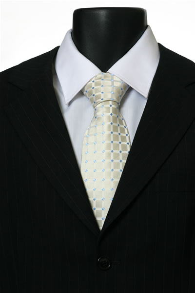 CREAM/BLUE GRID TIE-0