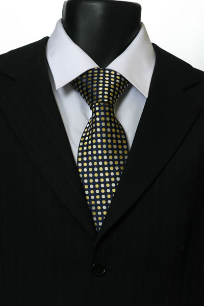 YELLOW/NAVY SPOT TIE-0