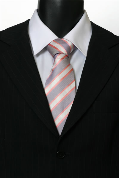 GREY/WHITE/PINK STRIPE TIE-0
