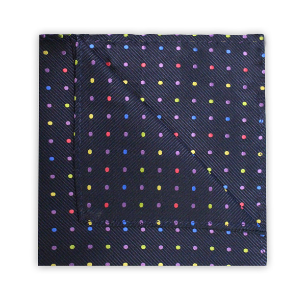 NAVY/MULTI-COLOUR SPOT SQUARE