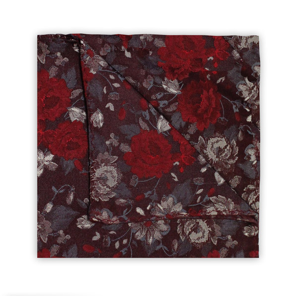 BURGUNDY/RED FLORAL SQUARE
