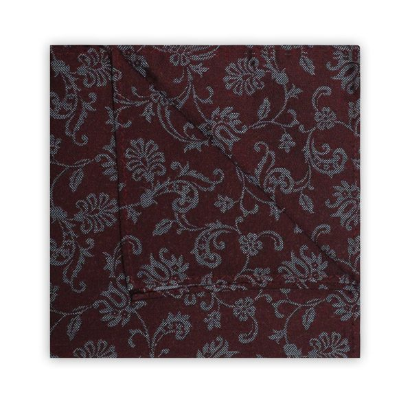 BURGUNDY/GREY FLORAL SQUARE-0