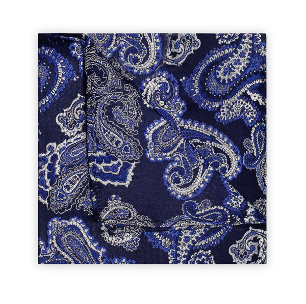 NAVY/BLUE/WHITE PAISLEY SQUARE