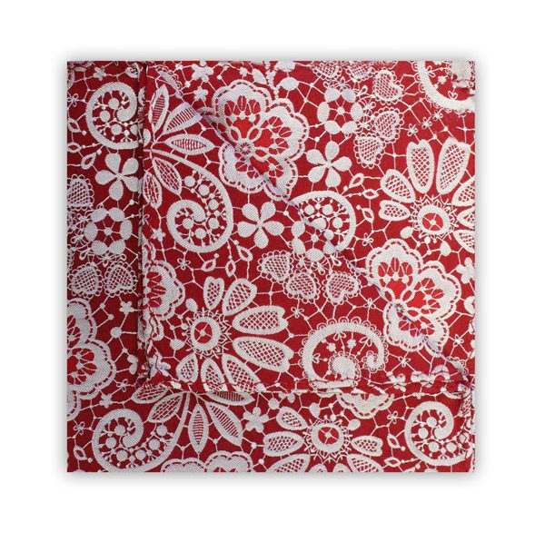 RED/WHITE FLORAL LACE SQUARE-0
