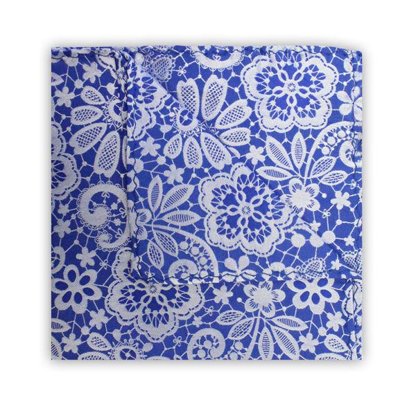 ROYAL BLUE/WHITE FLORAL LACE SQUARE-0