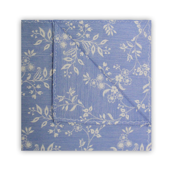 LIGHT BLUE/WHITE FLORAL SQUARE