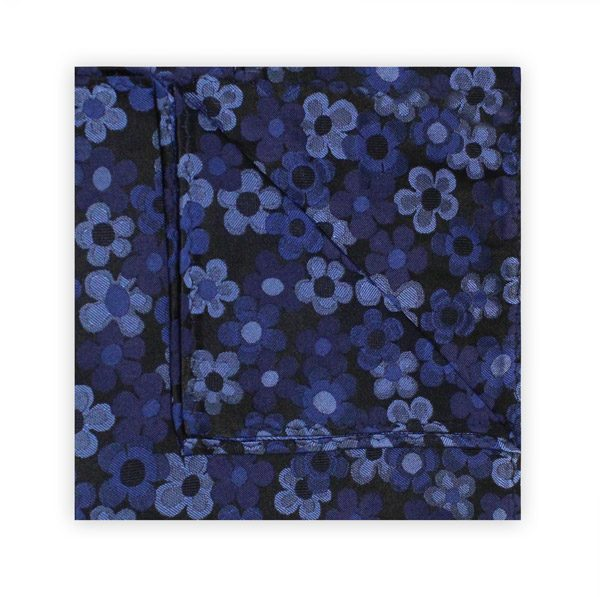 60's FLORAL BLUE SQUARE-0