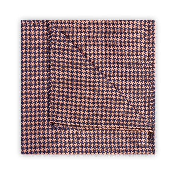 PEACH/NAVY HOUNDSTOOTH SQUARE-0