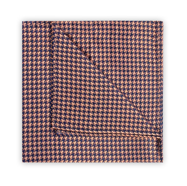 PEACH/NAVY HOUNDSTOOTH SQUARE