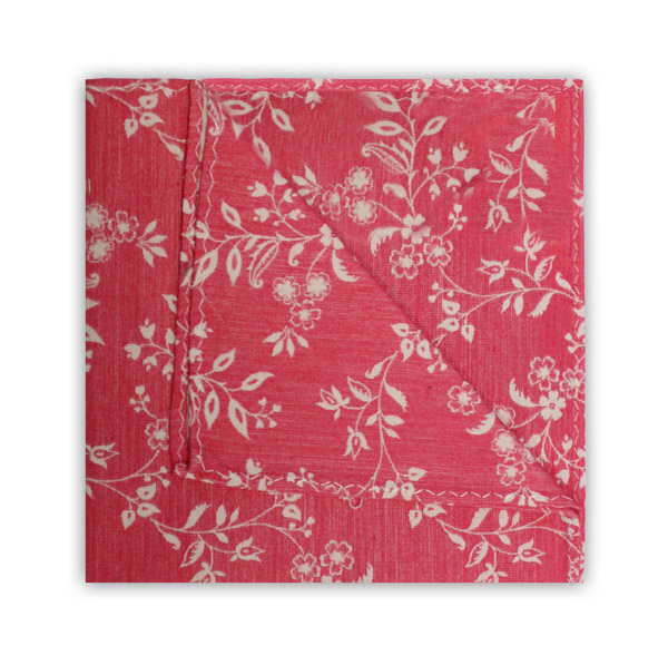 SALMON PINK/WHITE FLORAL SQUARE