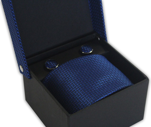 ROYAL BLUE GEOMETRIC DESIGN TIE & CUFFLINK SET