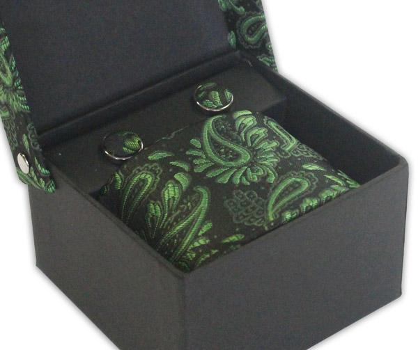 BLACK/GREEN FLORAL TIE & CUFFLINK SET