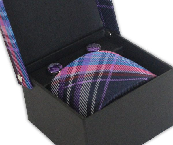 PINK/PURPLE/BLUE CHECK TIE & CUFFLINK SET-0